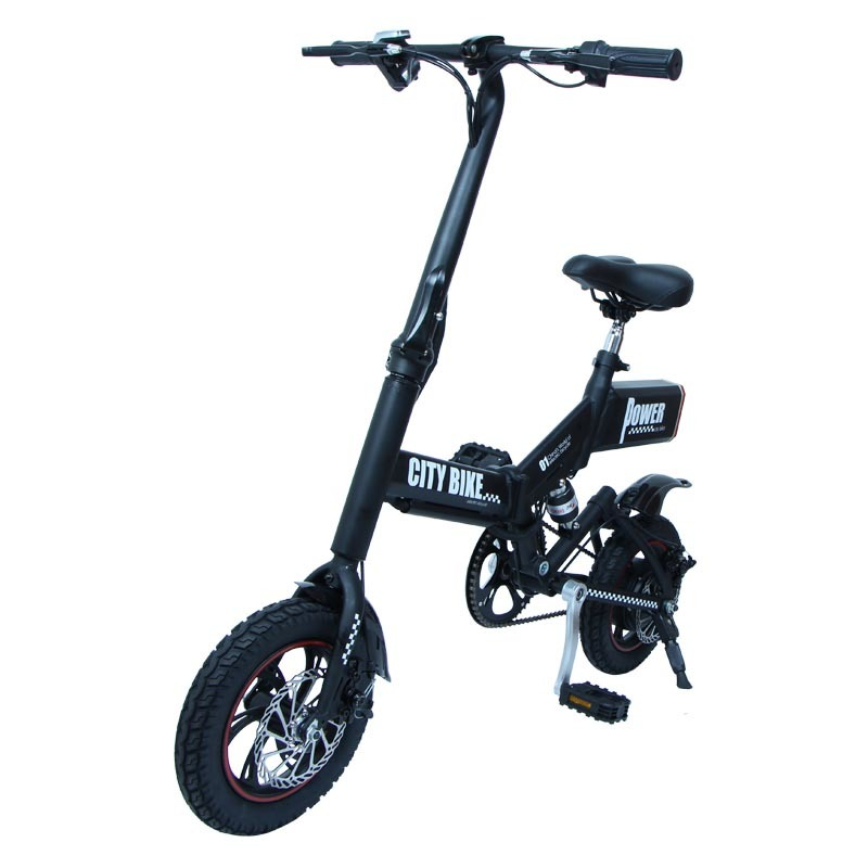 GS6 mini black foldable electric bike