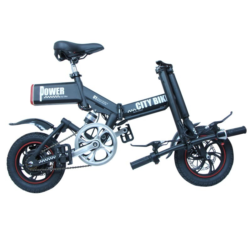 GS6 mini black foldable electric bike